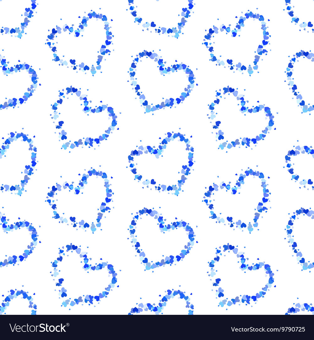 Hearts contours on white seamless pattern