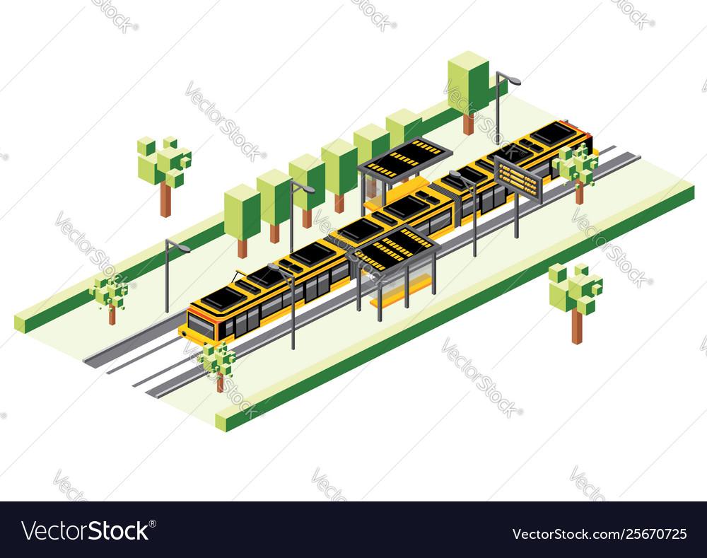 Isometric tram station isolated on white railway