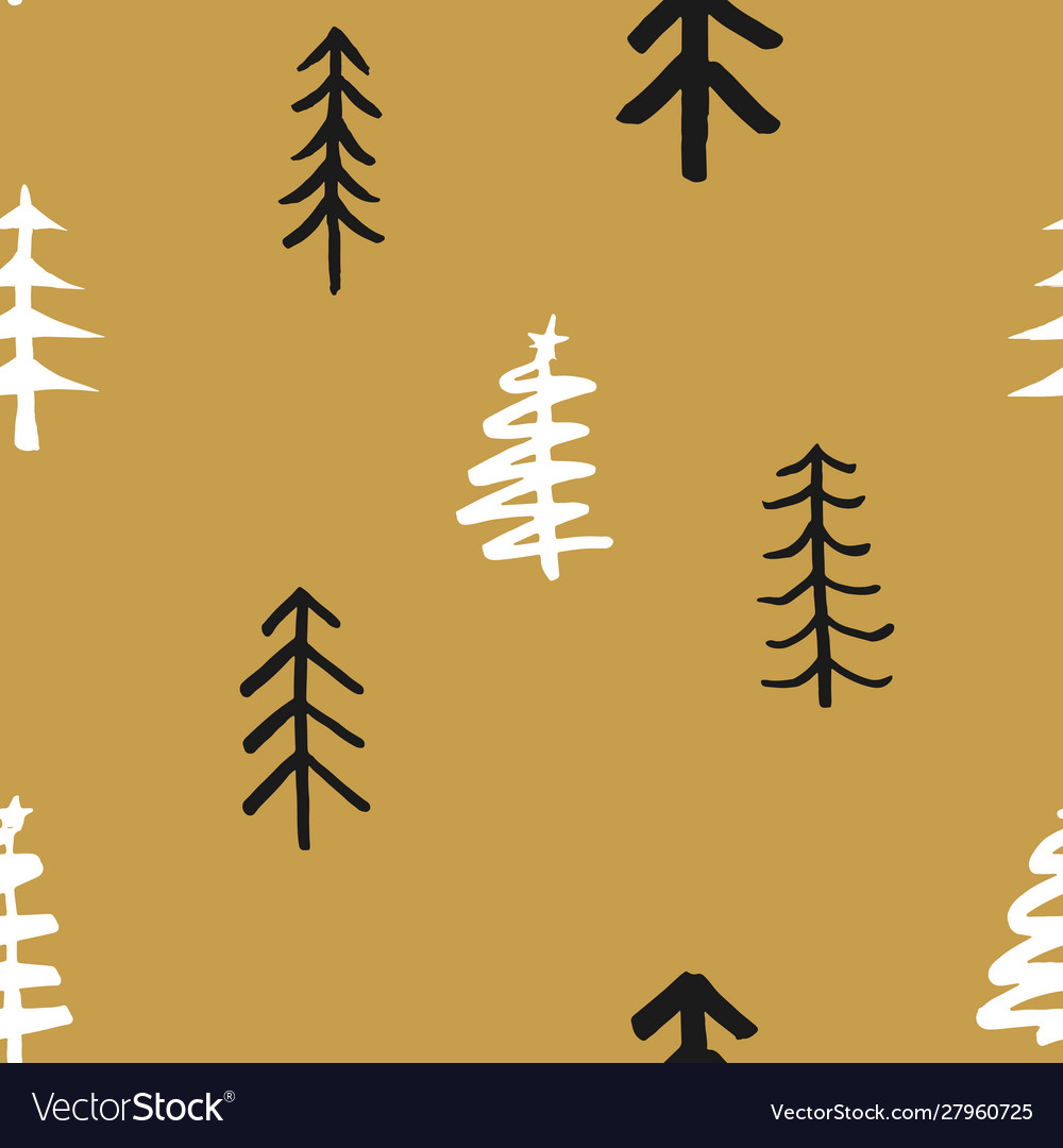 Pine tree seamless pattern new year and christmas