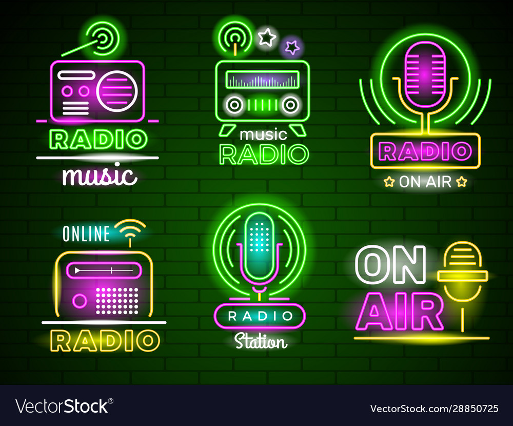 Radio glowing logo neon style colored business