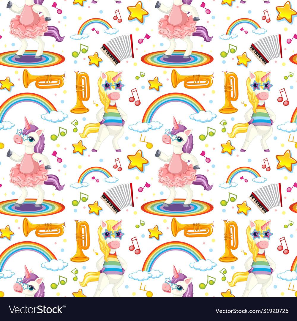 Seamless unicorn music theme