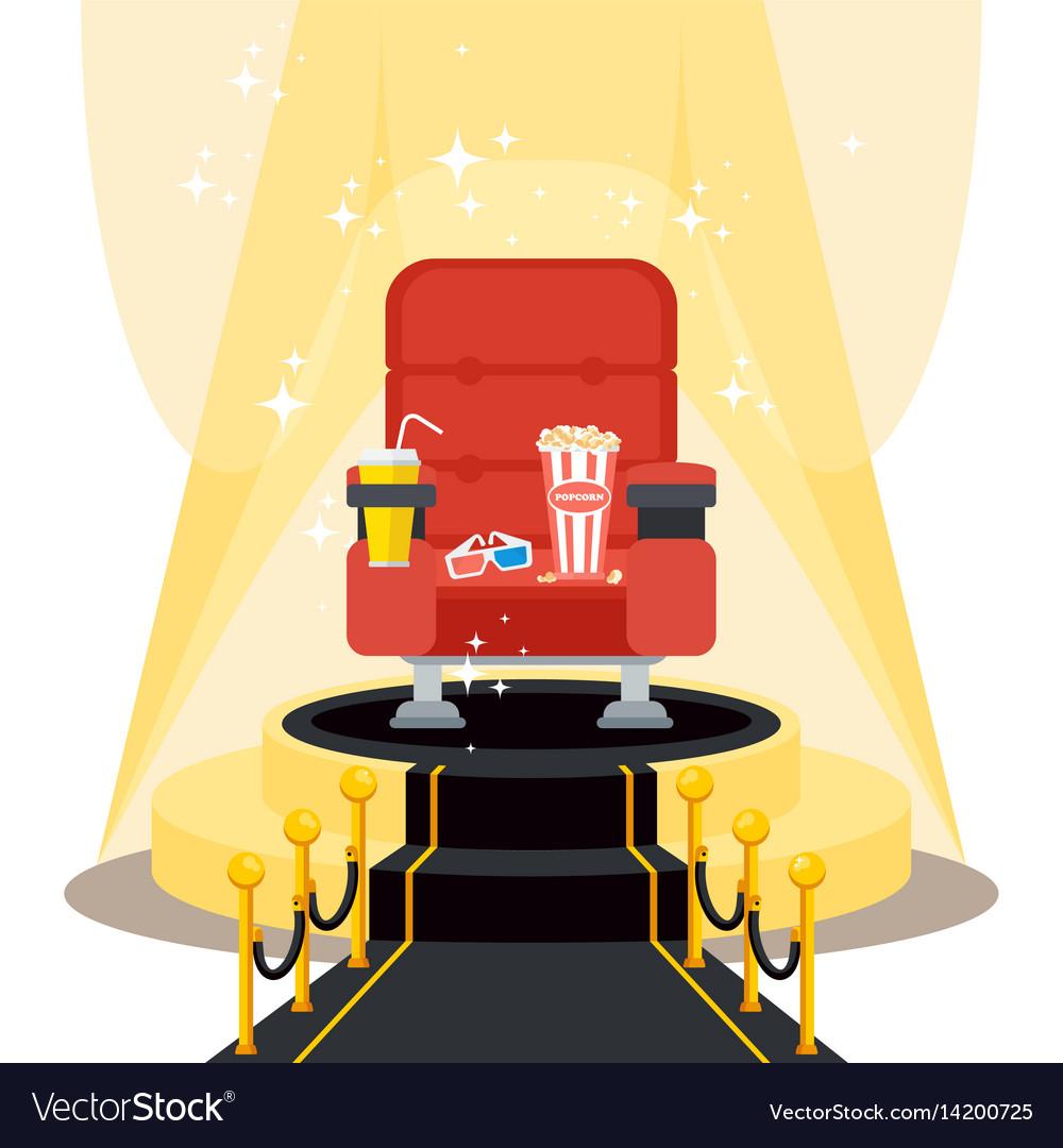 Seats on black carpet vector image