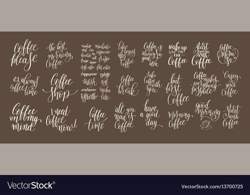 Set of hand written lettering inscription design