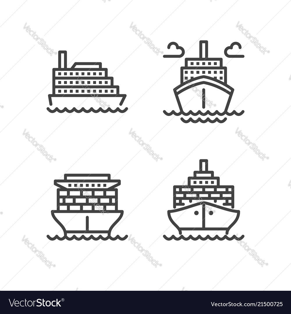 Ships flat line icons cargo shipping tanker sea