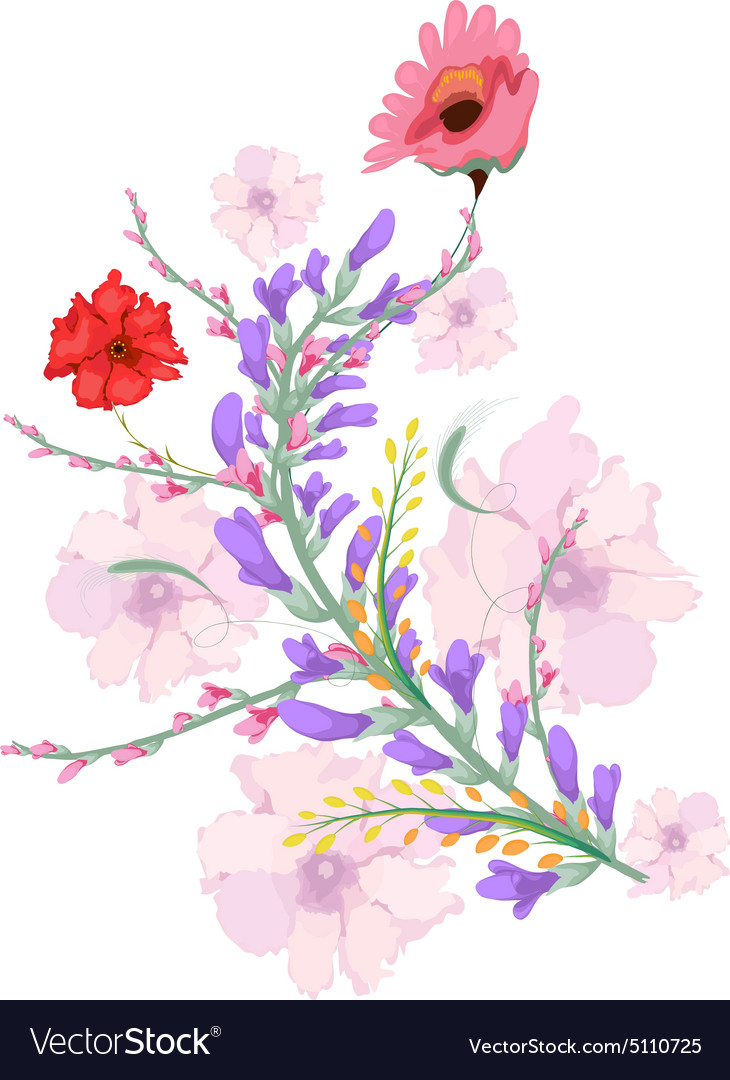 Watercolor Flowers In Simple Background
