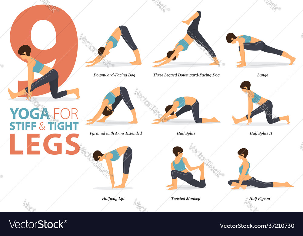9 yoga poses for stiff and tight legs concept