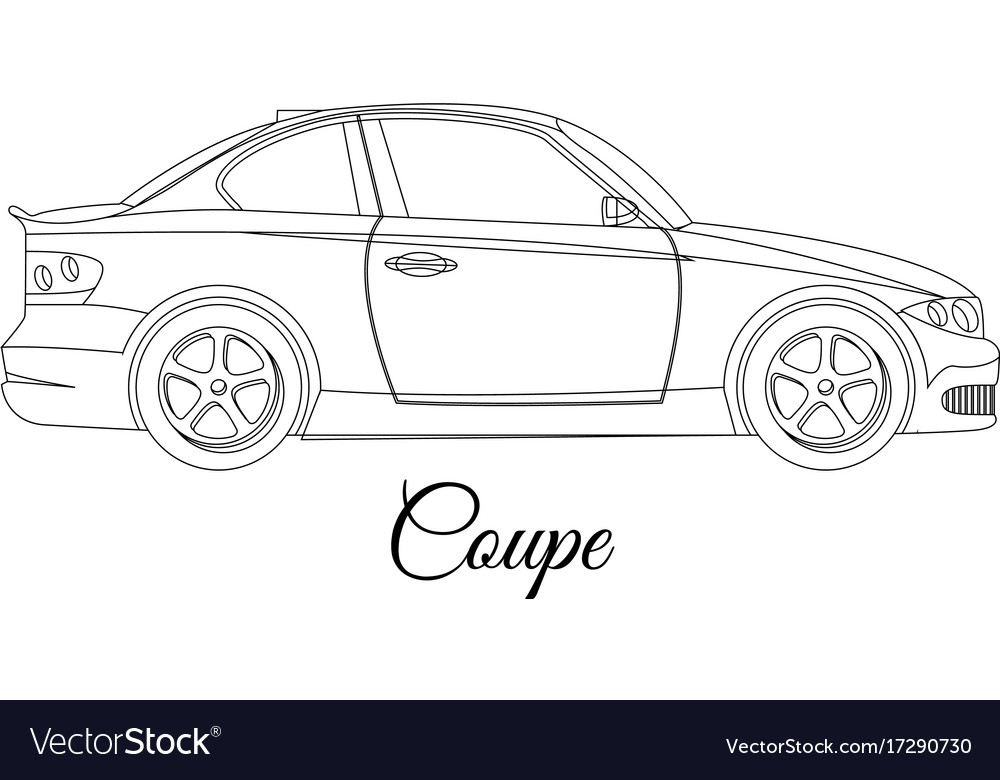 Coupe Car Body Type Outline Royalty Free Vector Image