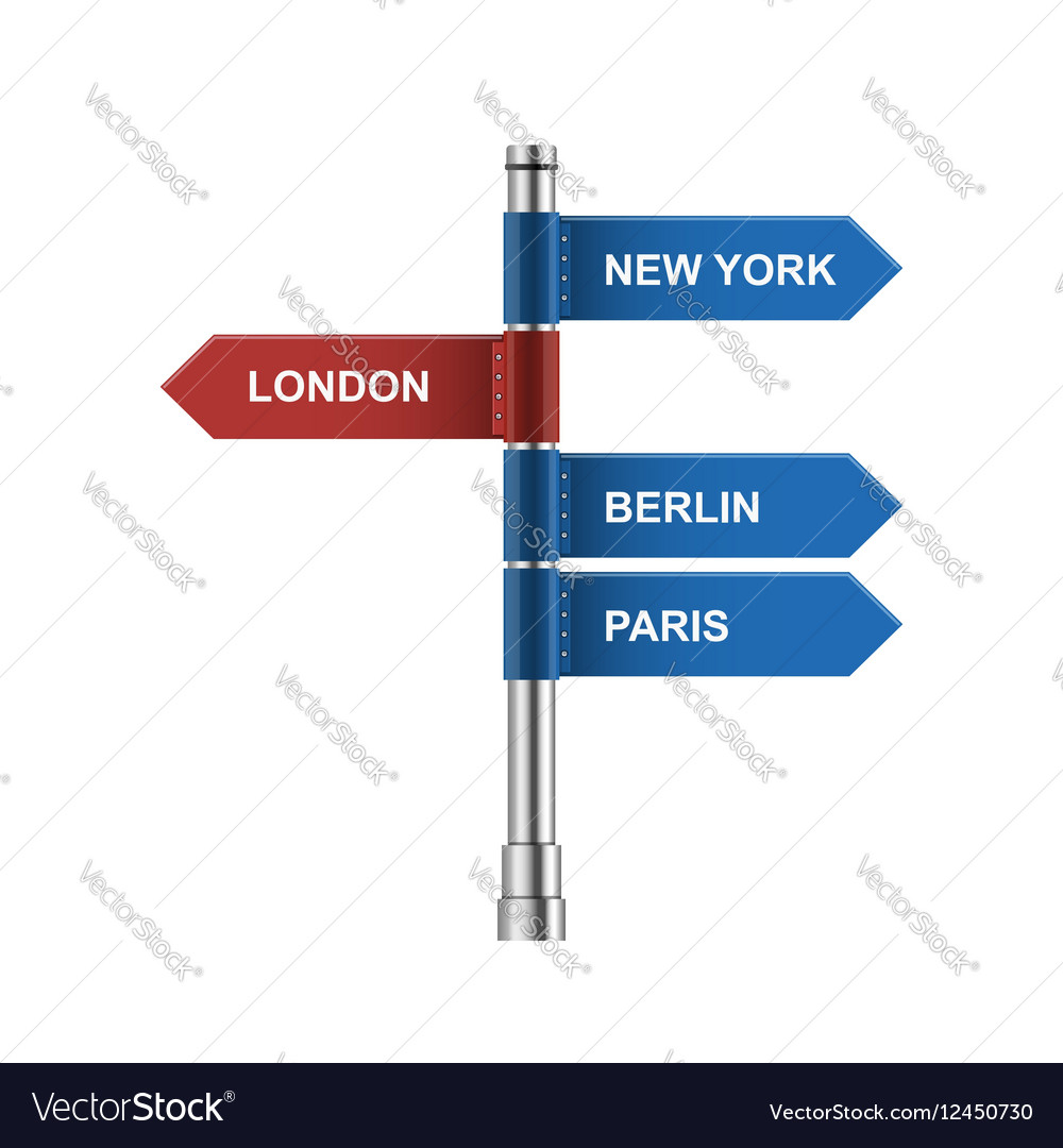 direction city road signs arrows isolated on vector image
