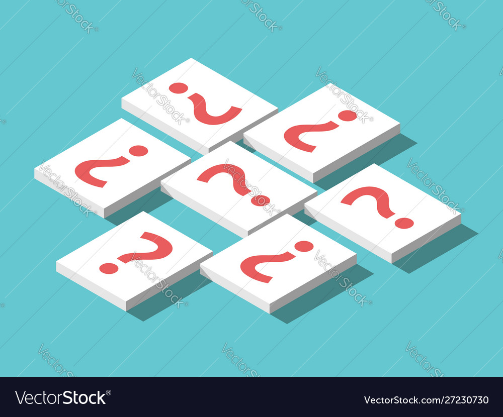 Isometric question mark cards