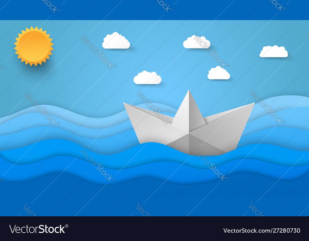 Origami style sea background