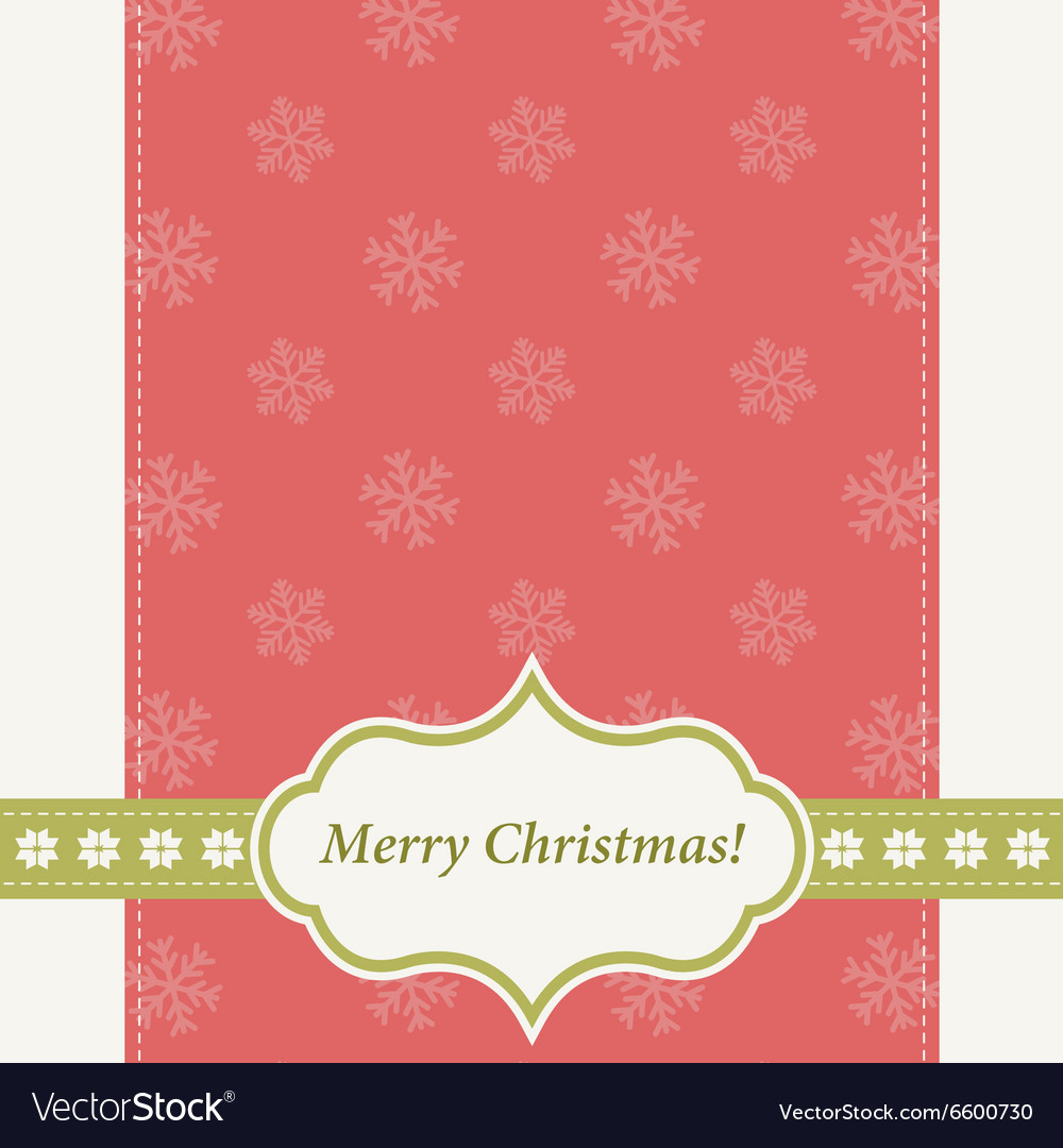Red Christmas card with snowflakes vector image