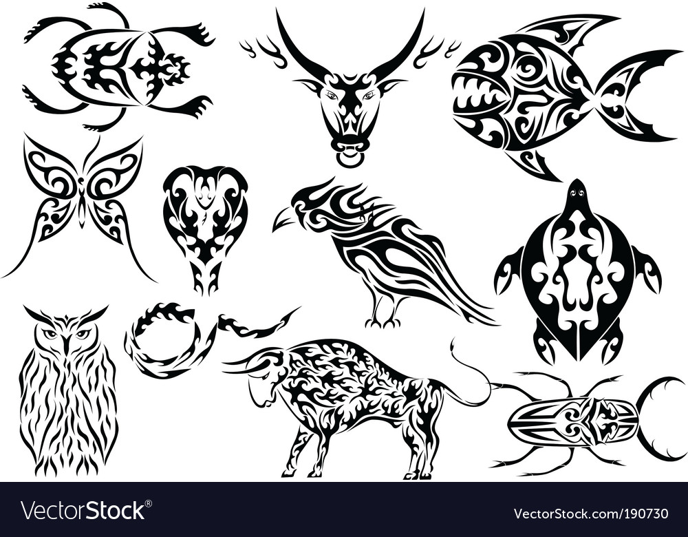 Set Of Tribal Animal Tattoos Vector. Artist: kaetana; File type: Vector EPS