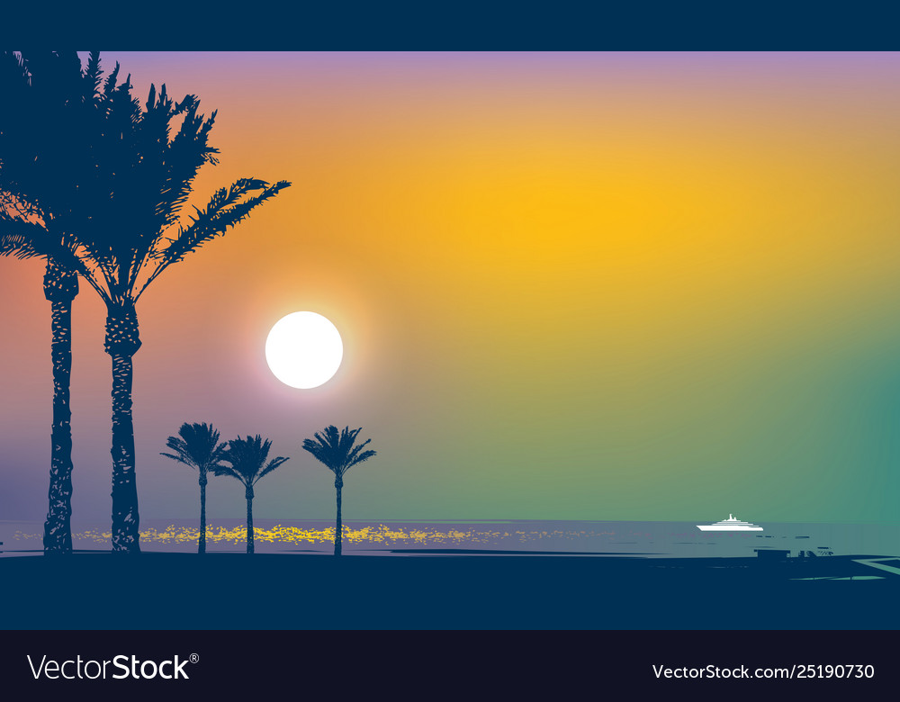 Summer tropical seascape with palms and ship