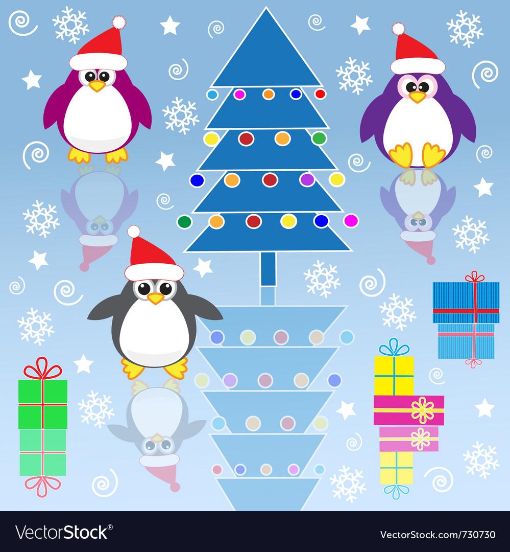 Xmas penguins vector image