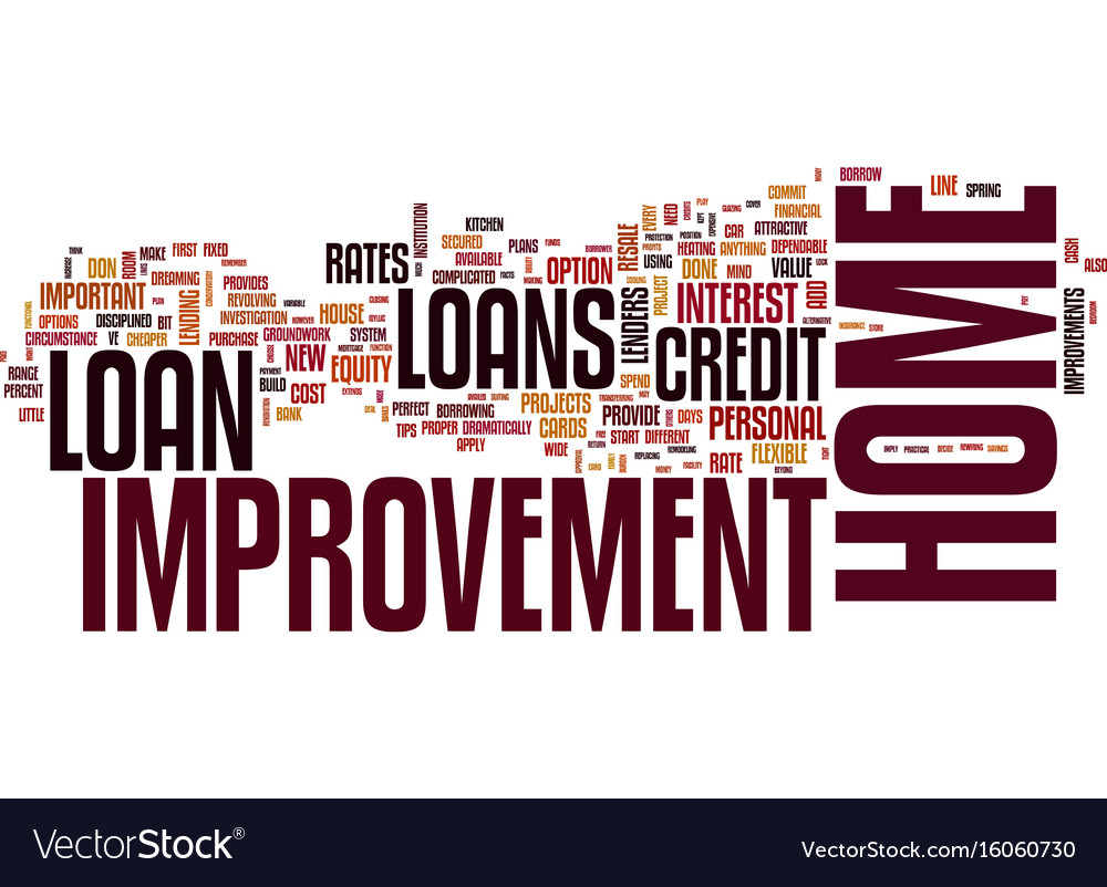 Your home improvement loan text background word vector image