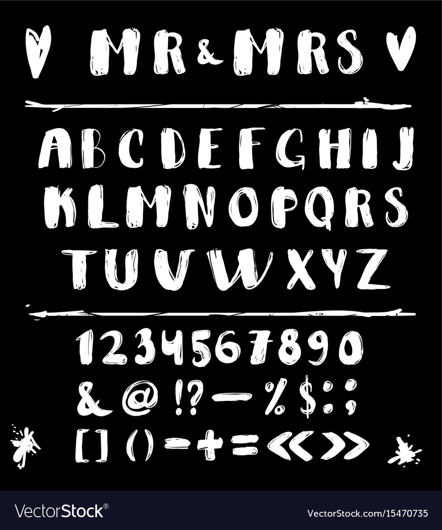 Alphabet of calligraphy on a black background vector image