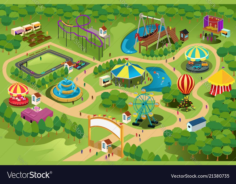 Amusement Park Map Amusement park map Royalty Free Vector Image   VectorStock
