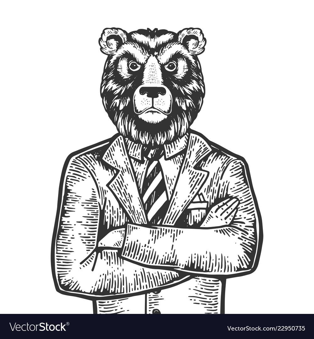 Bear businessman engraving