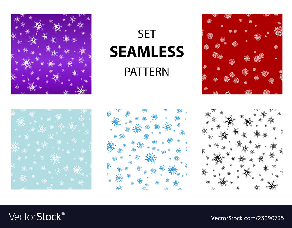 Big set seamless snow pattern simple