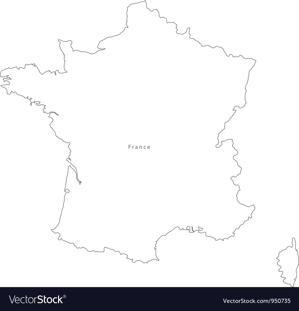 Black White France Outline Map Royalty Free Vector Image