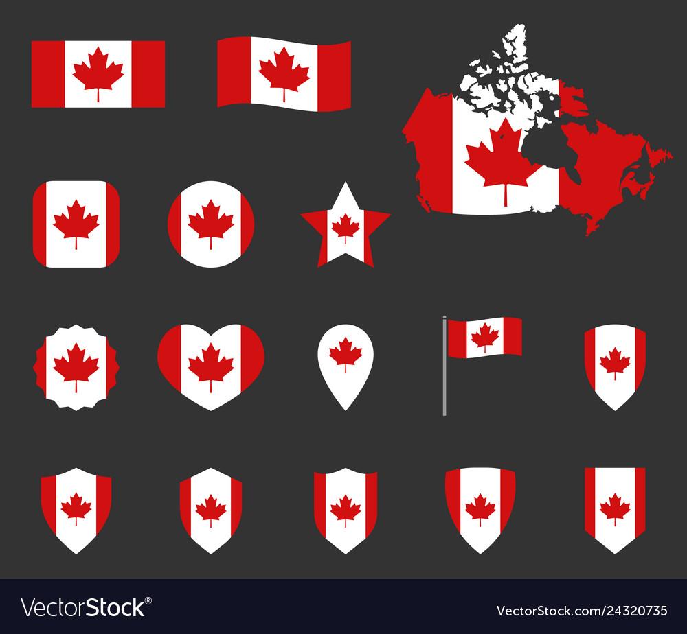 Canada flag symbols set canadian national flag