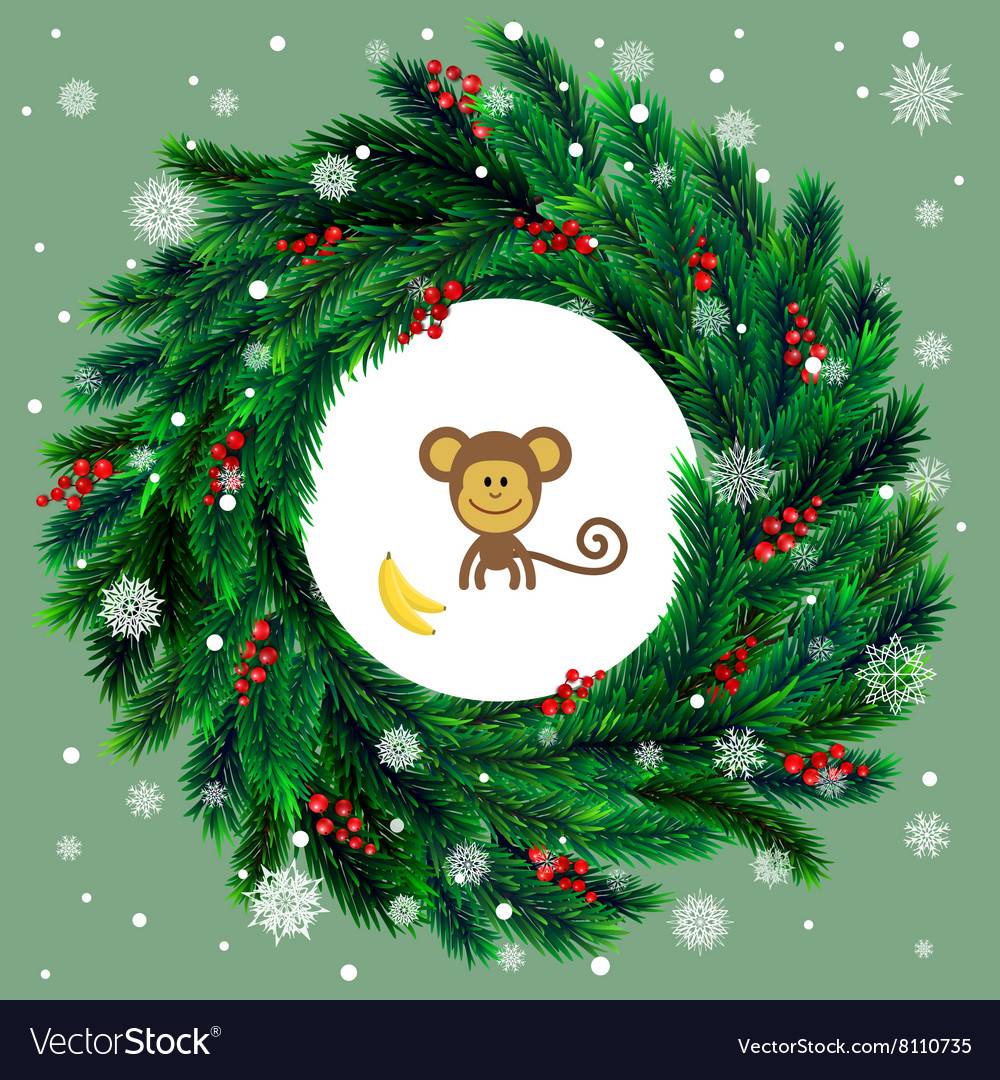 Christmas Wreath With Red Berries And Cartoon Vector Image