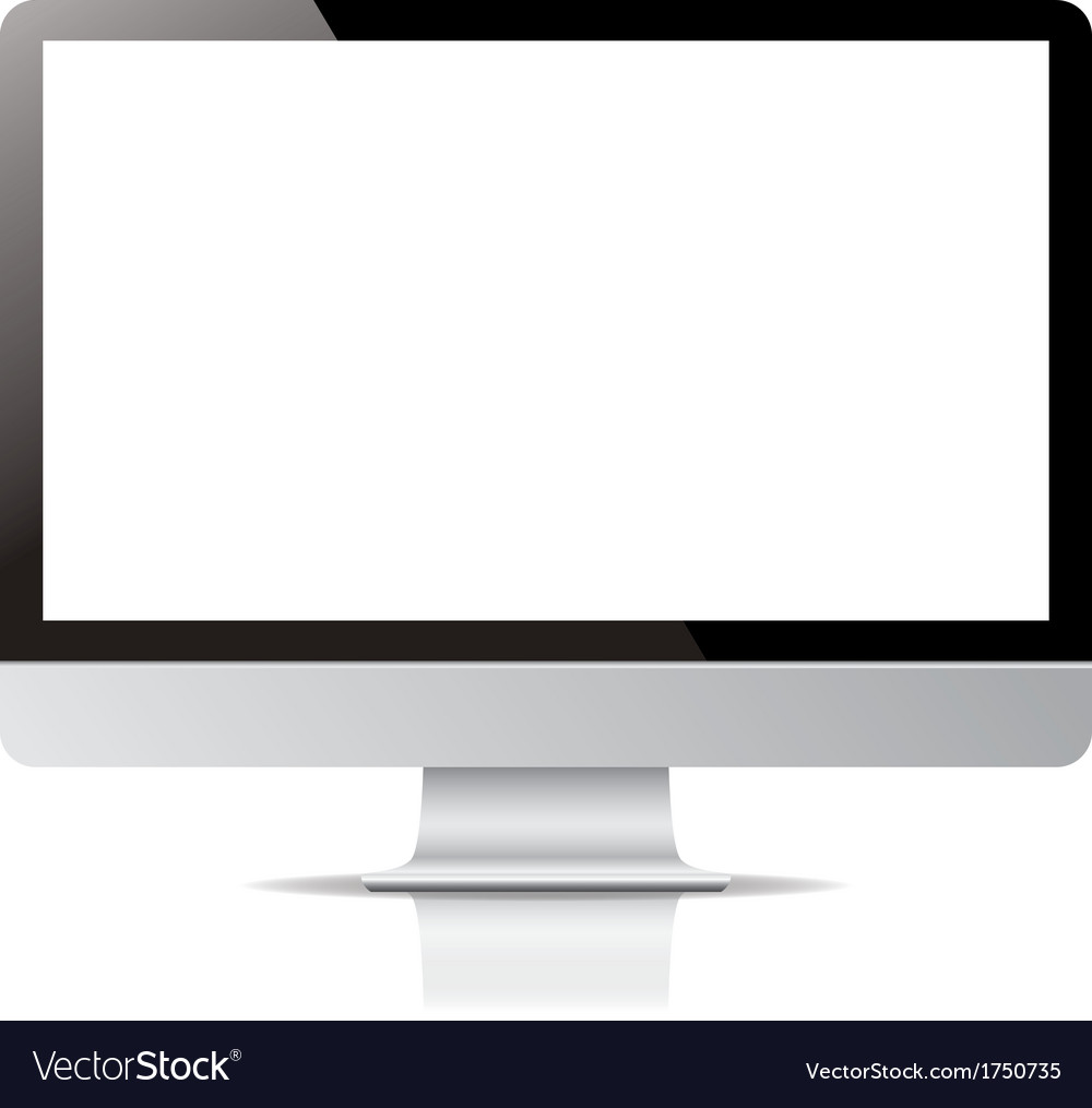 Computer display screen isolated on white