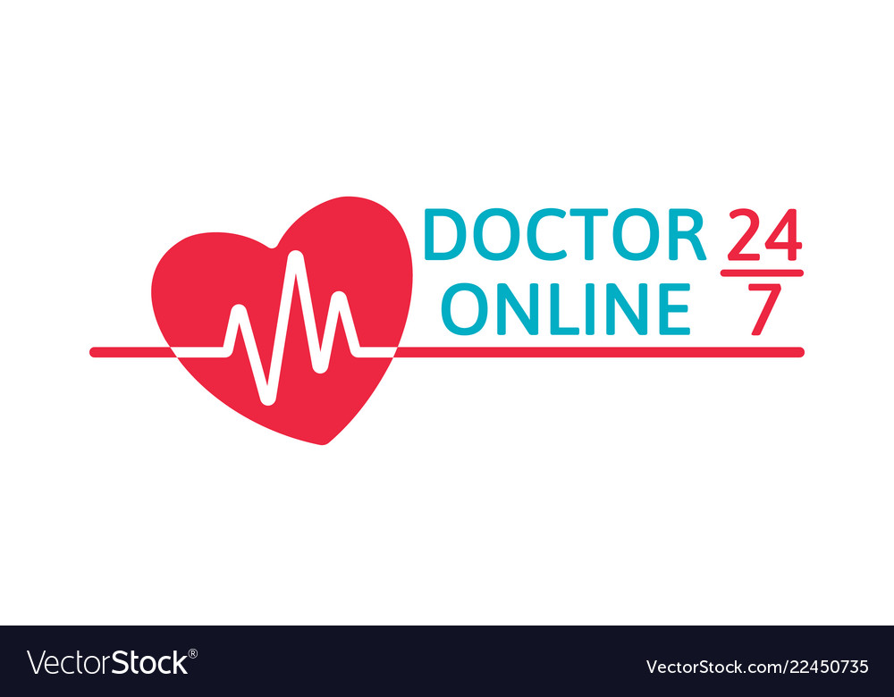 Doctor online logo on white background mobile