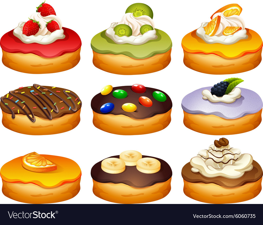 Donut in different flavors frosting vector image