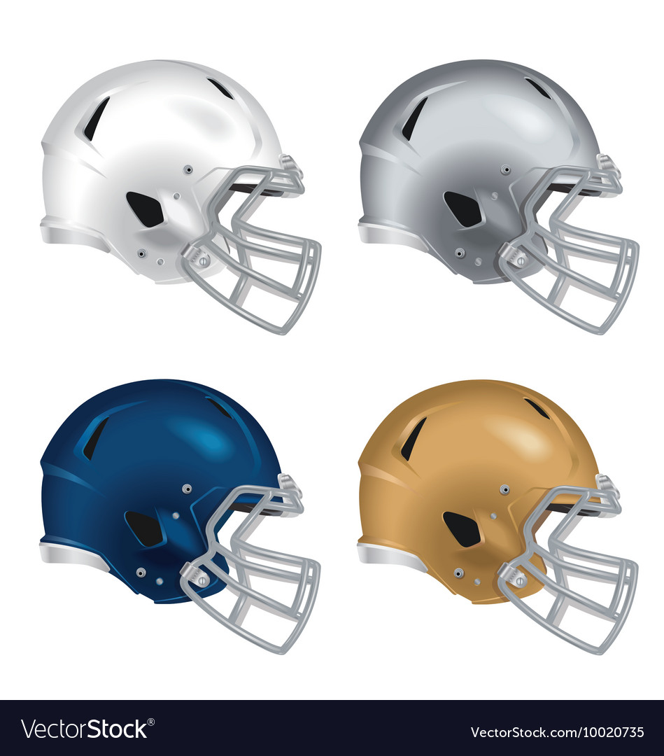Football helmets with gray facemasks
