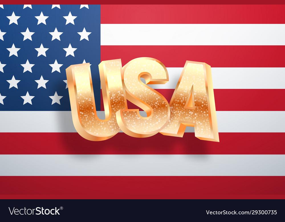 Golden usa word on national flag united states