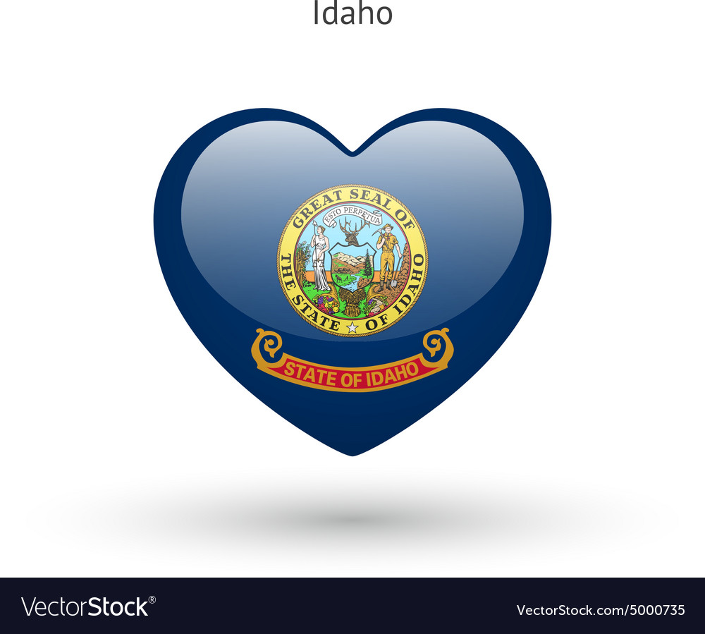 Love Idaho state symbol Heart flag icon