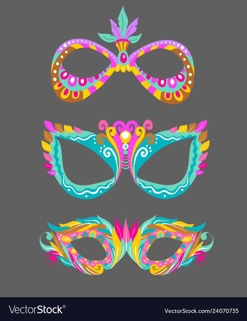Three bright masquerade masks over white