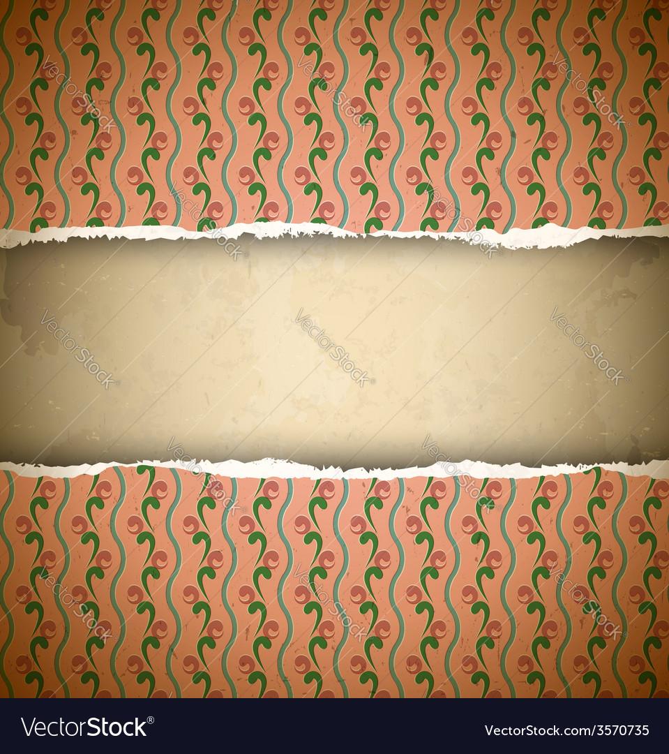 Torn pink ornamental wallpaper vector image