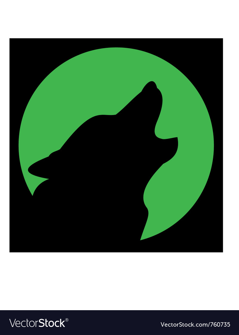 Wolf and moon silhouette vector image