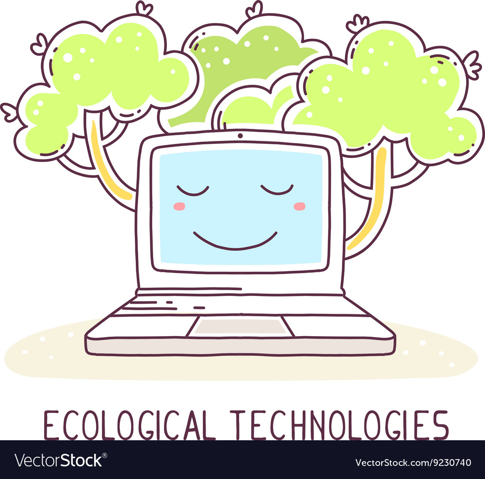 Blue color laptop with green trees and te