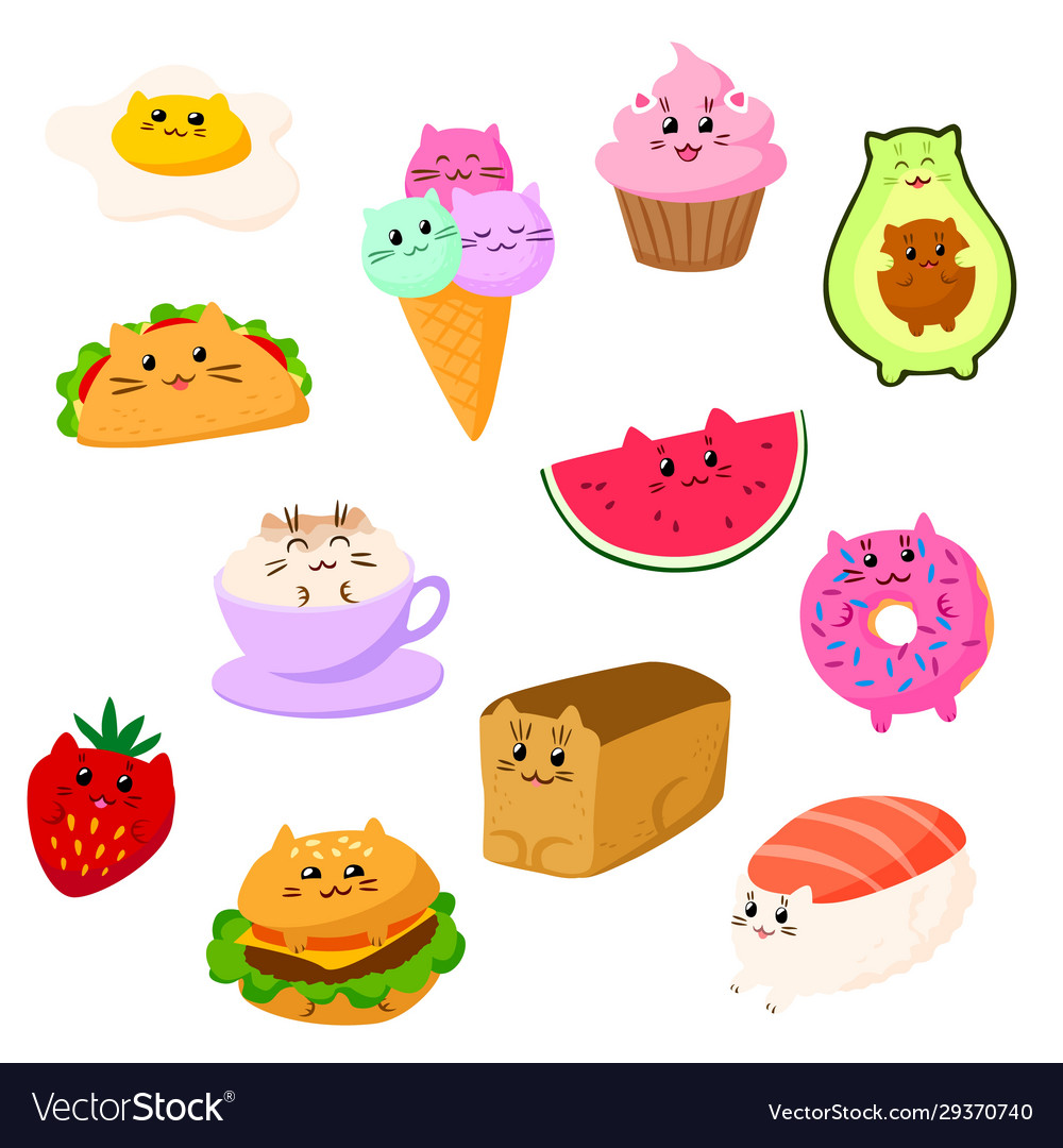 Cat food kawaii cartoon character