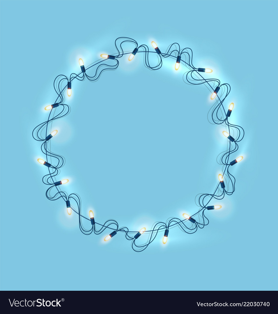 Christmas lights realistic garland on blue