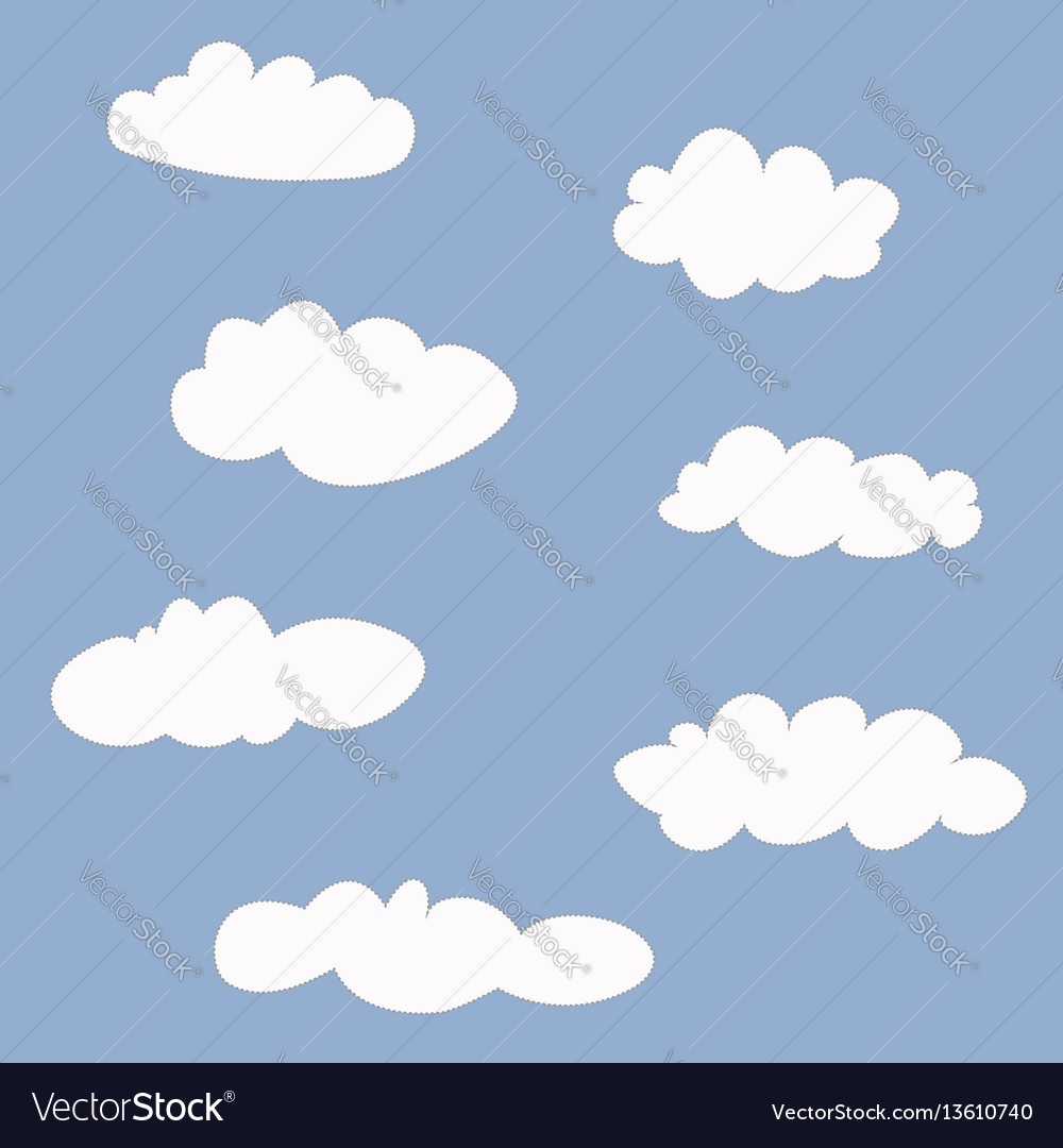 Cute clouds icons set