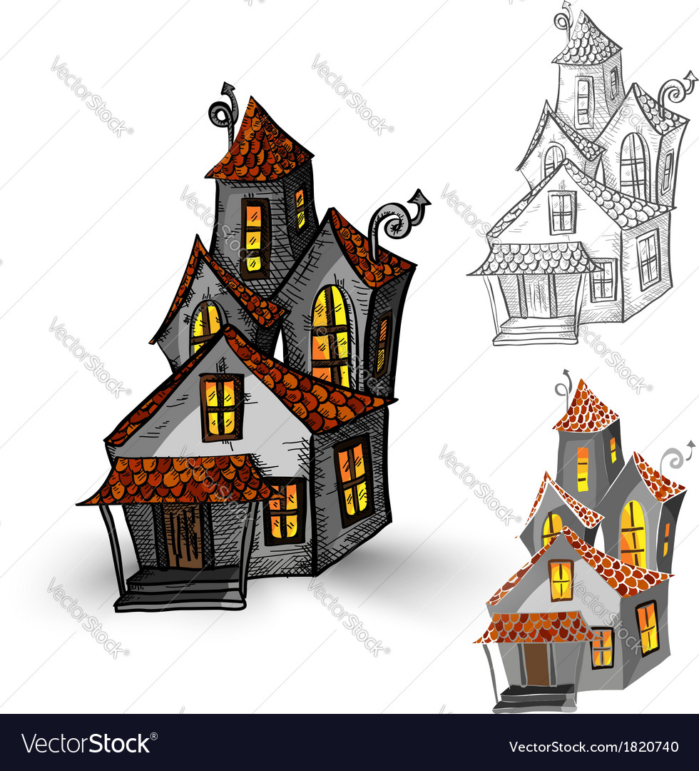 Halloween Spooky House Drawing.Halloween Monsters Isolated Spooky Haunted Houses