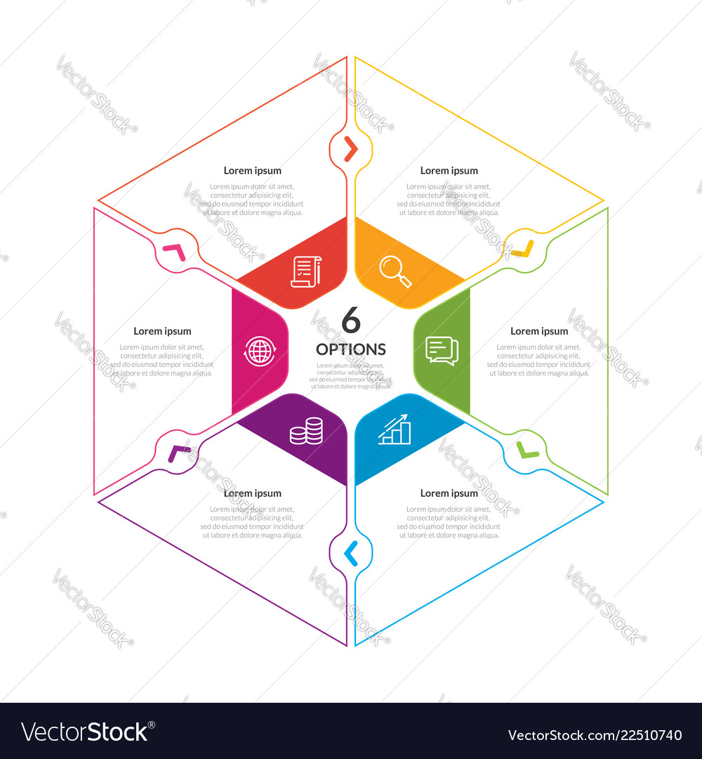 Hexagon chart infographic template