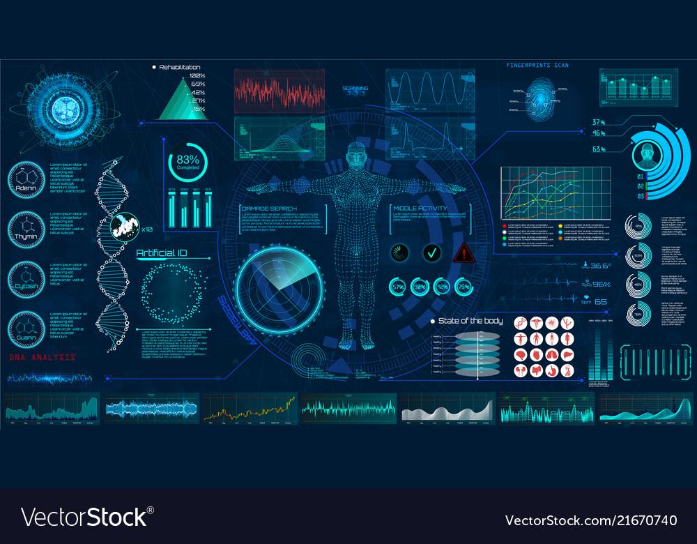 Medical examination hud elements set interface
