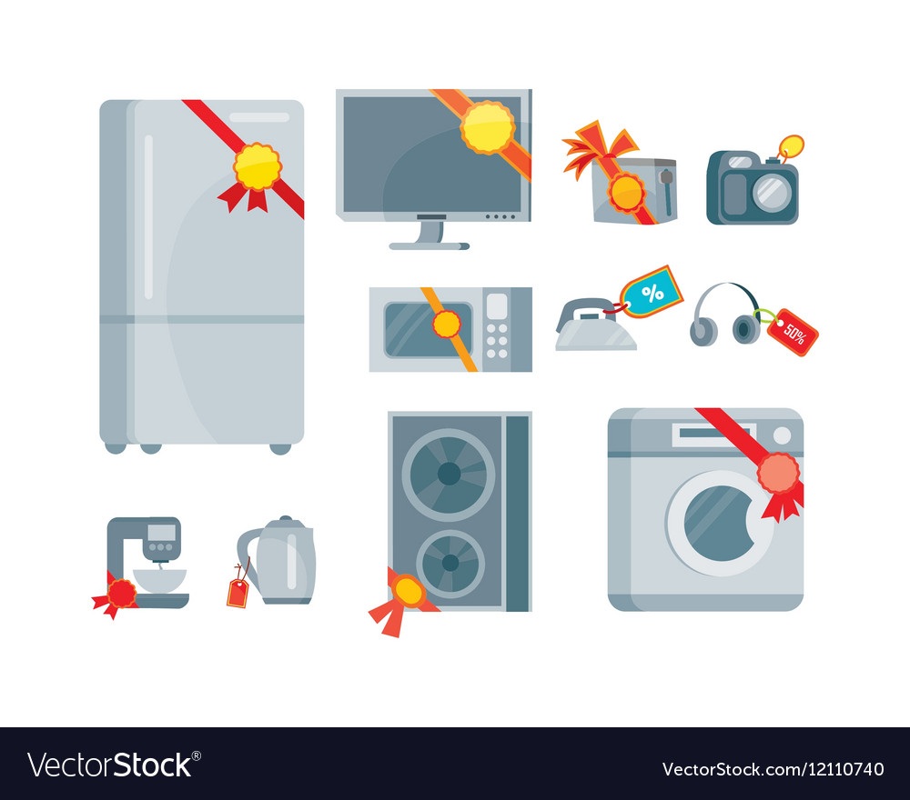 Sale Discount Household Appliances with Red Tags vector image