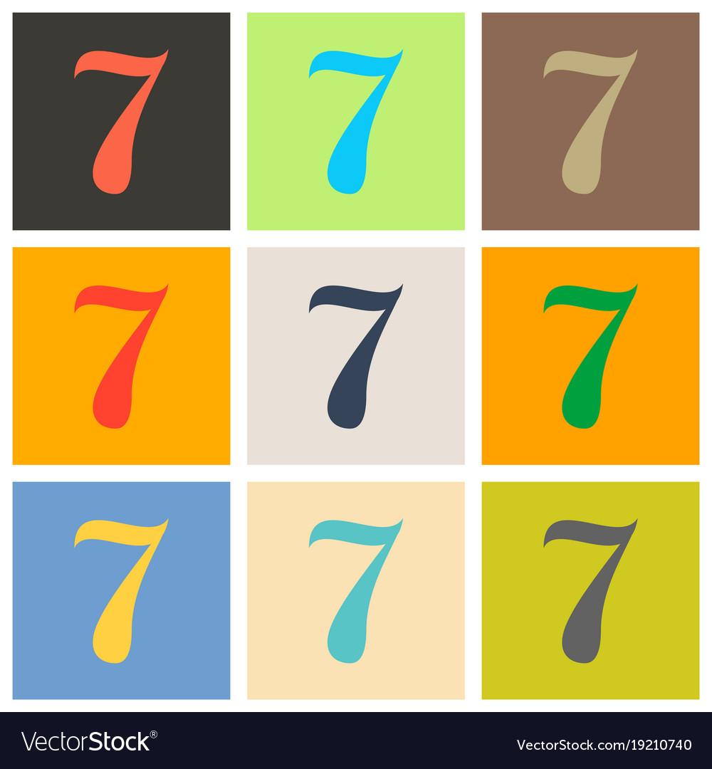 set of slot machine seven icon color flat vector image