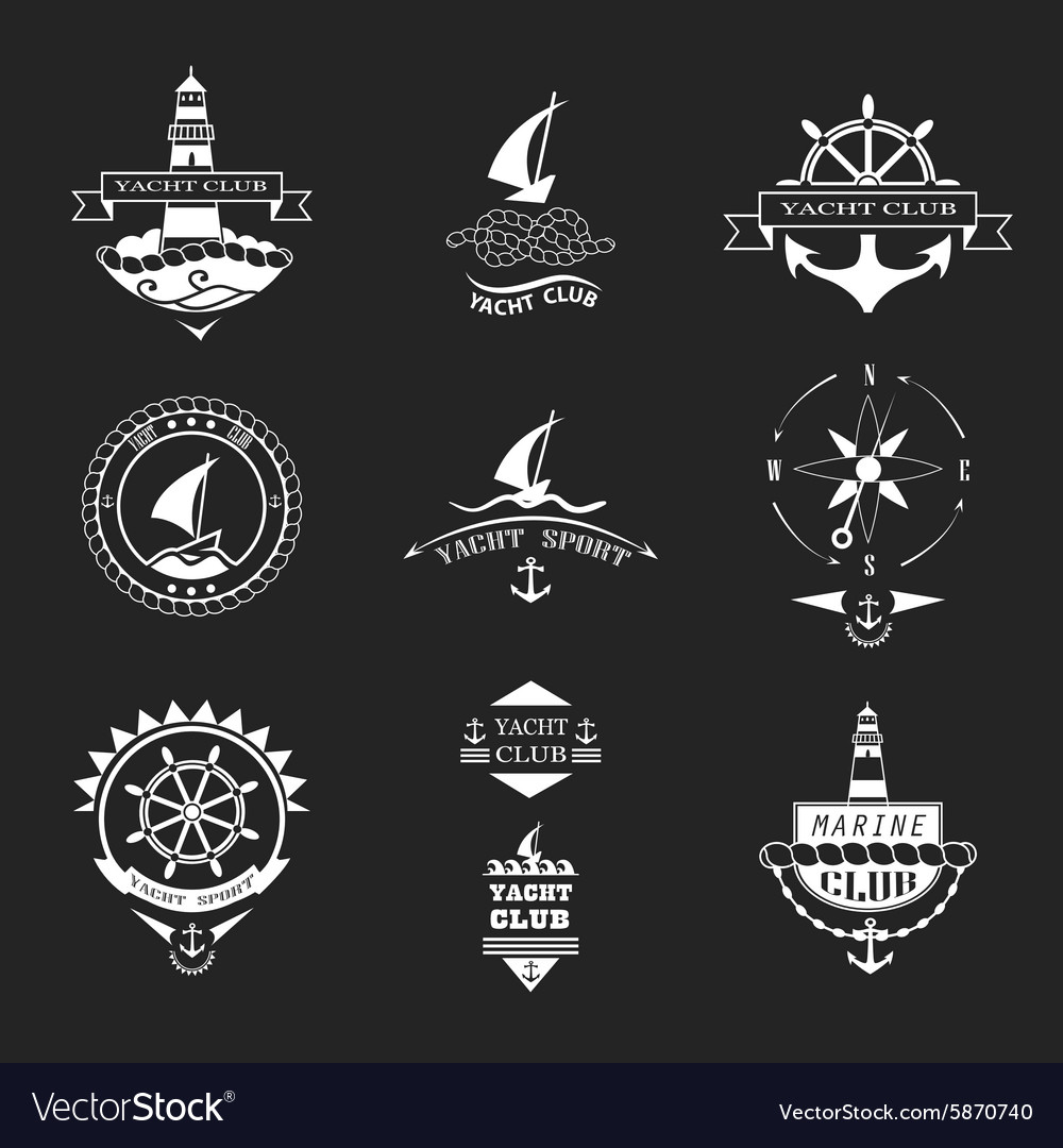 Set of yacht club logos vector image