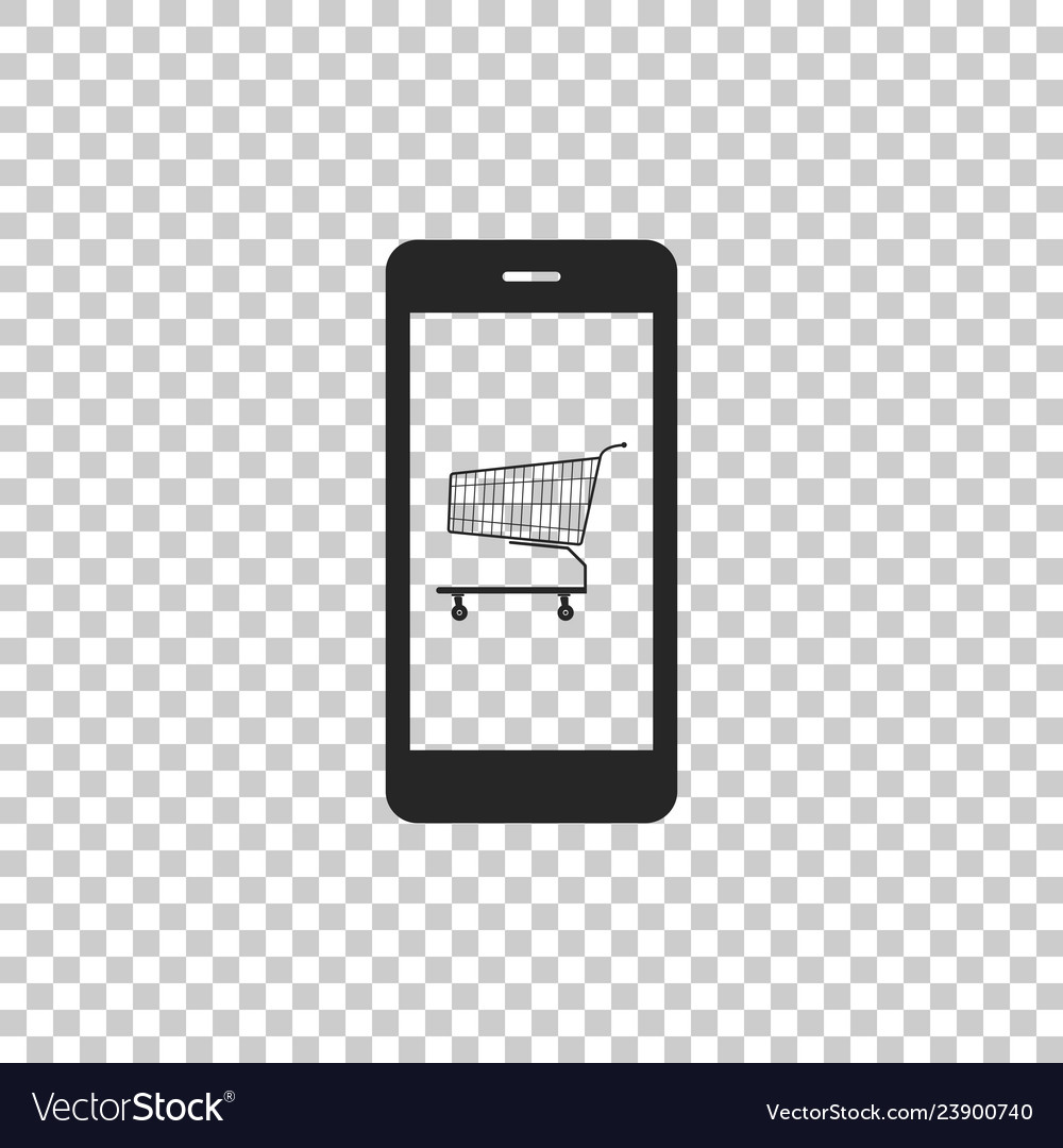 Shopping cart on screen smartphone icon