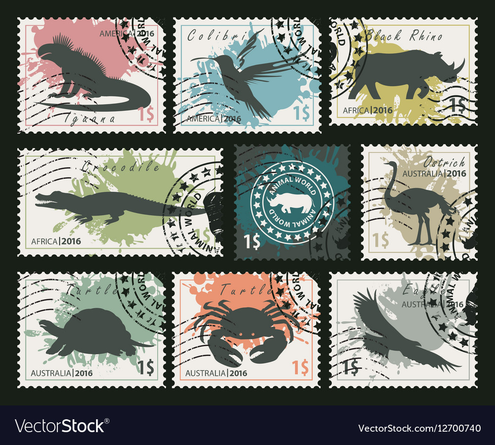 Stamps on animals and birds