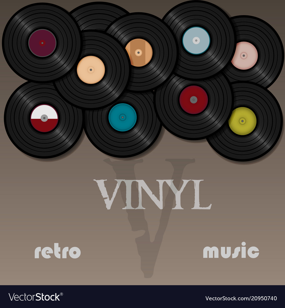 Vinyl record music for a postcard or