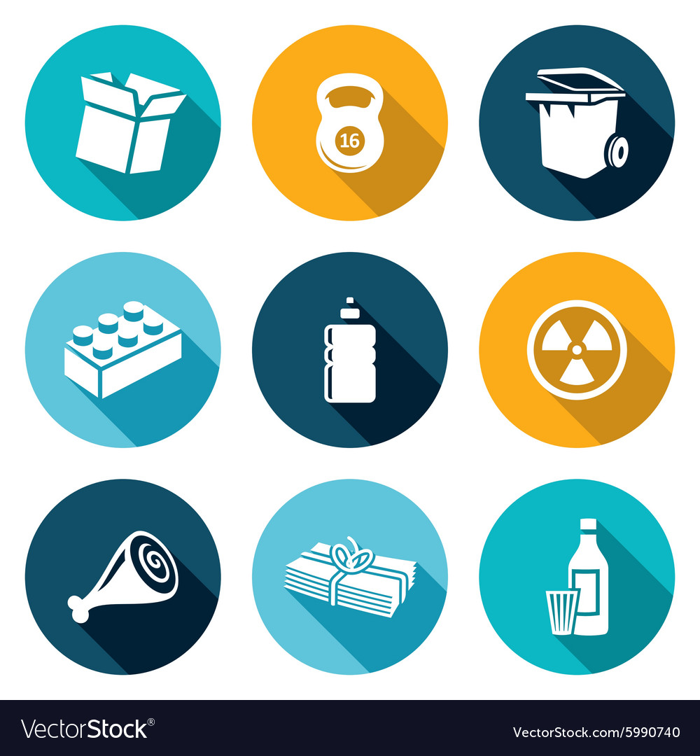 Waste and recycling Icons Set