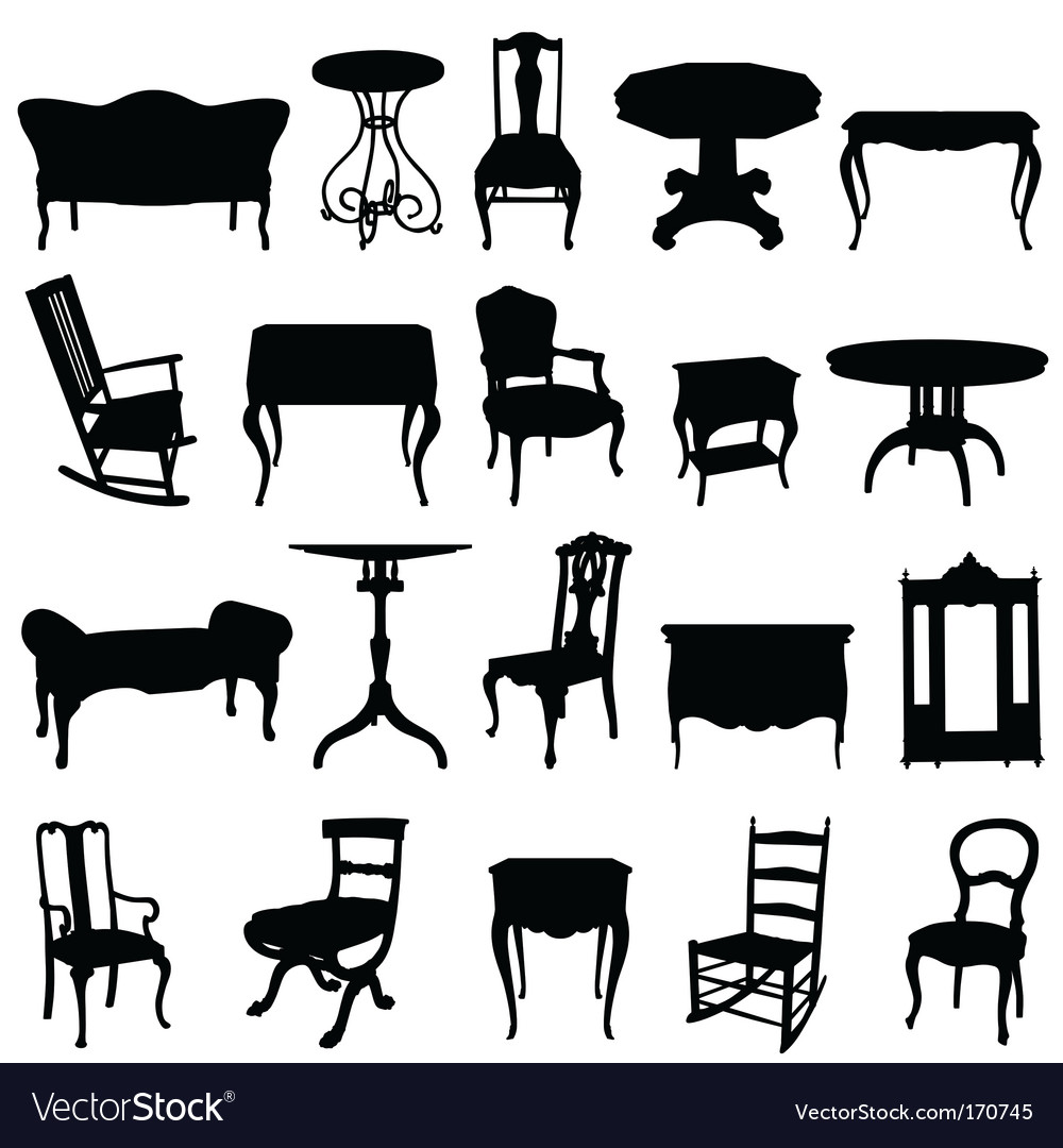 Antique furniture's set vector image
